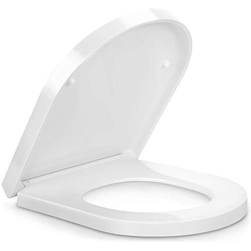 Toilettendeckel, WC Sitz mit Absenkautomatik, Premium Duroplast Klositz mit Quick-Release Funktion für leichte Reinigung, Antibakteriell Klodeckel D Form weiß Toilettensitz mit Edelstahl Befestigung