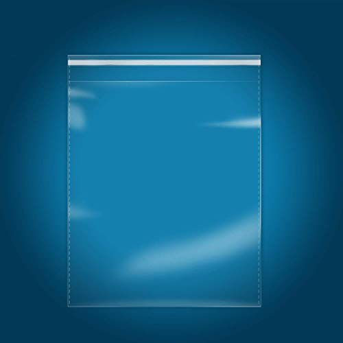 100 Count - 14' x 20' Self Seal Clear Cello Cellophane Resealable Plastic Poly Bags for Clothing, T-Shirts, Pants