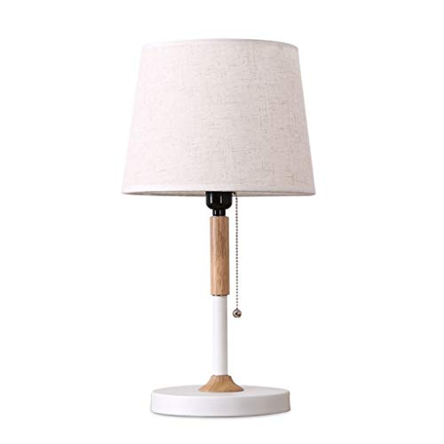 MYBA Lámpara de mesa nórdica, lámpara de mesita de noche, creativa, luz de dormitorio, luz LED, protección ocular de madera maciza, lámpara de mesita de noche, luz cálida
