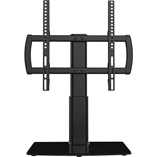 Universal TV Stand/Base Tabletop TV Stand with Wall Mount for 27 to 55 inch 4 Level Height Adjustable, Heavy Duty Tempered Glass Base, Holds up to 110lbs Screen HT03B-001