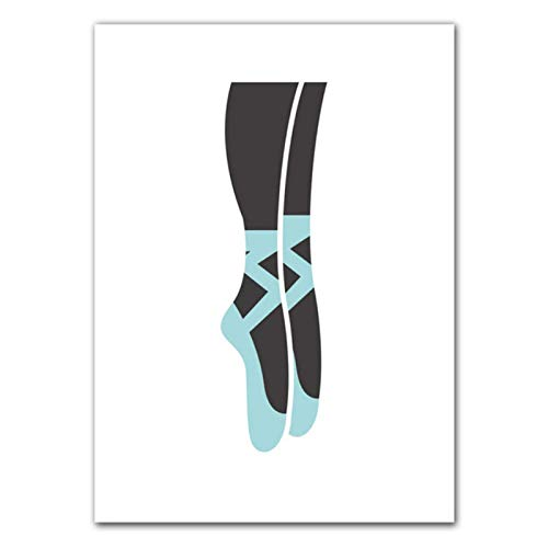 MZDesign Póster Póster de Pintura en Lienzo para niñas, póster de Zapatillas de Ballet, Hermosas Pinturas, Arte de Pared, Impresiones en Lienzo, Imagen de Dibujos animados-50x70cmx1 sin Marco