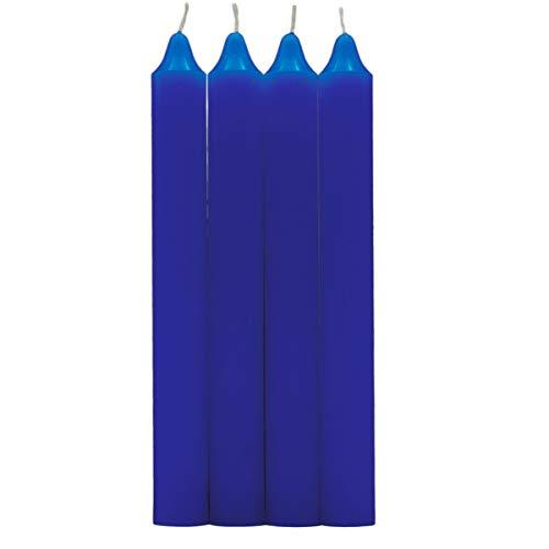 Velas Cilíndricas Multiples Colores, 100% parafina y mecha de algodón puro sin perfume 17.5 cm (Azul, 4 Velas)