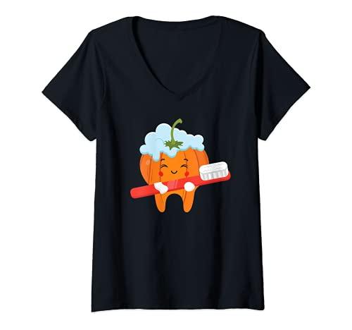 Mujer Dientes-cepillo calabaza perezoso DIY Halloween disfraz divertido Dental Camiseta Cuello V
