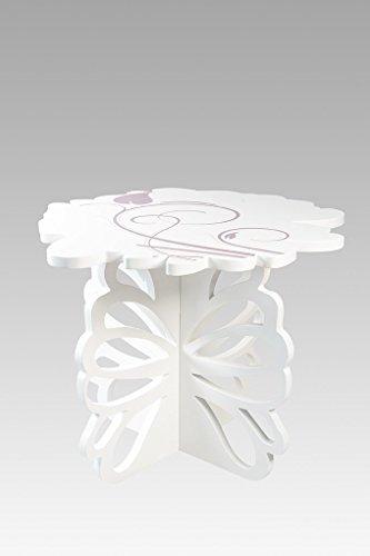 CVC- Tavolo da Cocktail, Lavorazione Legno, Dettaglio Fiore colorato in altorilievo. Collezione Blossom. Dimensione 130x130x97 cm. Made in Italy.
