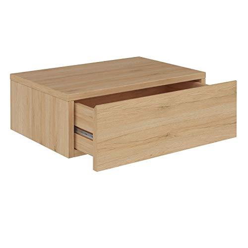 CARO-Möbel Wandregal Anne hängende Nachtkommode Wandboard Nachttisch mit 1 Schublade schwebend, grifflose, in San Remo