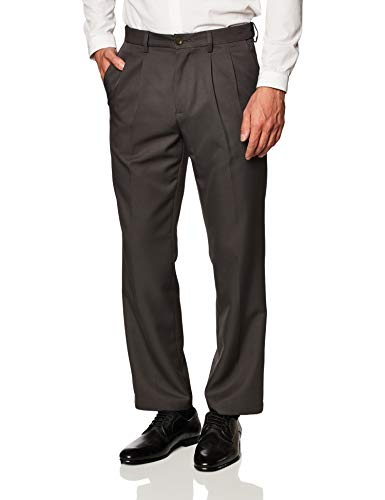 Amazon Essentials Expandable Waist Classic-Fit Pleated Dress Pants, Gris Oscuro, 35W x 29L