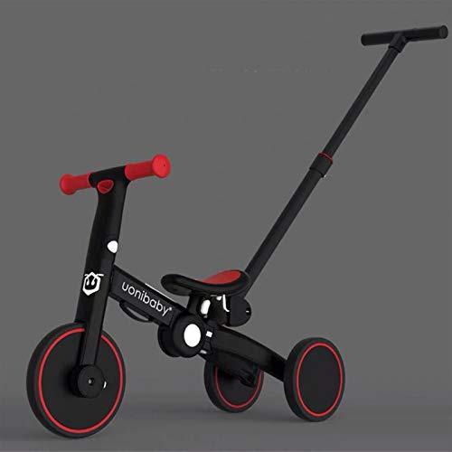 RUNMIND Balance Coche, 1-6 años de Edad, bebé, sin pie, Bicicleta de Dos en uno, Triciclo resbaladizo para niños, resbaladizo para niños, cumpleaños (con Barra de tracción),Rojo,with Putter