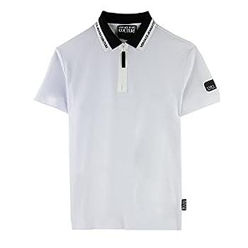 Versace Jeans Couture Men s White Logo Pique Half Zip Polo T-Shirt  XL