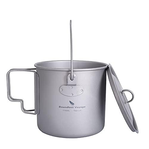 iBasingo Titan Tasse Camping Hängetopf mit Deckel Klappgriff Outdoor Ultraleicht Kaffee Wasser Becher Picknick Kochgeschirr für den Täglichen Gebrauch Rucksackreisen 1100ml Ti3041D