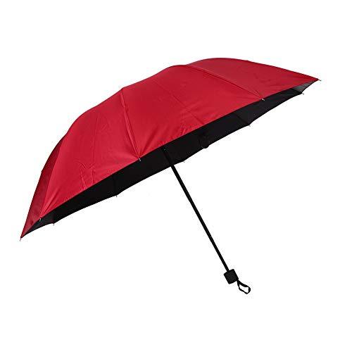 Paraguas publicitario Paraguas para sombrilla de 10 Huesos, sombrilla Plegable Simple de Color sólido, plástico Negro, protección UV, Rojo