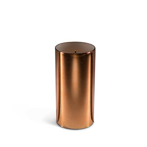 """The Gerson Company 3"""" D x 6"""" H Wick(R) Wax Candle with Galaxy Effect, Soft Glow Flicker with Warm White LED 5-Hour Timer Copper Color"""
