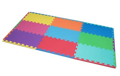 edukit Alfombra de Juegos Espuma EVA; 9 Piezas y 14 Bordes; 30 x60cm; Baldosas Puzzle Multicolores y Extra-Anchas – Una Zona de Juegos para bebés y niños Brillante y Segura