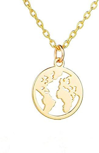quanjiafu Necklace Necklace World Map Necklace Map Pendant World Choker Map Crescent Moon Necklaces Pendants Dainty Pendants for Women Necklace Necklace
