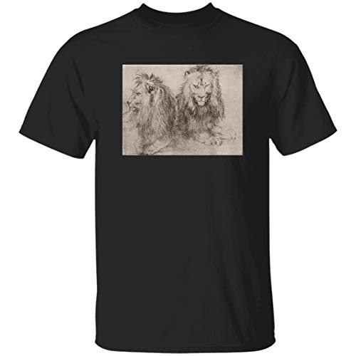 Leo.Nardo da Vin.Ci Lions Artwork Vint.Age Sty.leup - Front Print T Shirt for Men And Women