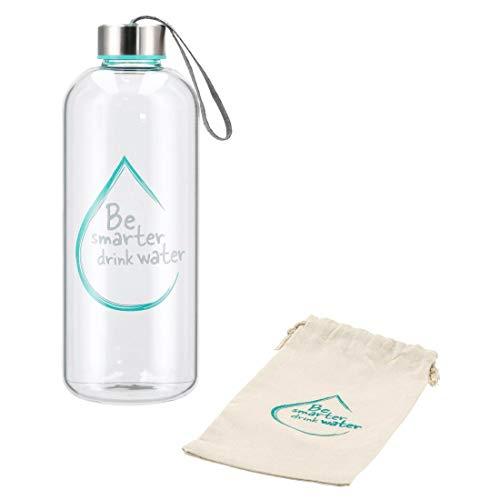 Xavax Botella de cristal de borosilicato de 1 l, a prueba de fugas, con cierre de rosca, correa de transporte, funda de tela, botella de vidrio turquesa