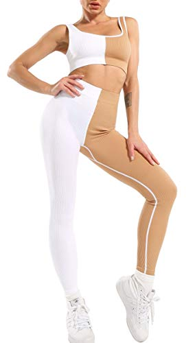 OLCHEE Workout Sets for Women 2 Pieces Seamless High Waist Athletic Leggings and Sports Bra Workout Outfits Sets Activewear Sets - White and Nude M