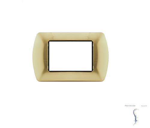 Placche in METALLO compatibili Bticino Living International 3 posti moduli vari colori supporti LN4703 L4703 (P06 ORO SATINATO)