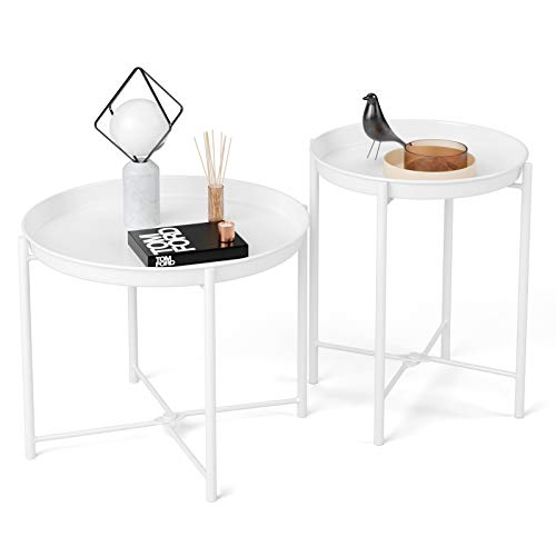 Homfa White Side Tables Foldable Coffee Tables Set of 2 Living Room End Tables Metal Sofa Table Round Bedside Tables with Removable Tray