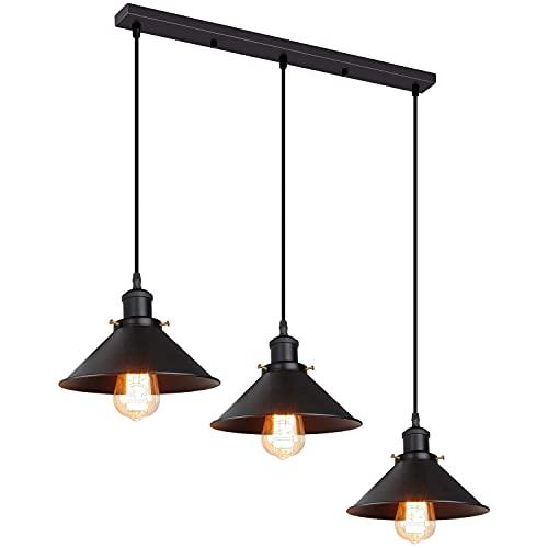 iDEGU 3 Luces Lámpara de Techo Industrial E27 Retro iluminación Colgante Vintage...