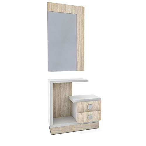HomeSouth - Recibidor con Espejo y Dos cajones, Mueble de Entrada Acabado en Blanco y Nelson, Modelo Star, Medidas: 71 x 75 x 27,9 cm de Fondo