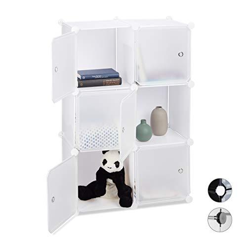 Relaxdays, weiß Regalsystem mit 6 Türen, DIY, Cubes, Grifföffnungen, Raumteiler, Badregal, Kunststoff, HBT: 98x66x32 cm