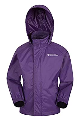 Mountain Warehouse Pakka Kids Rain Jacket - Waterproof - Girls & Boys Dark Purple 11-12 Years