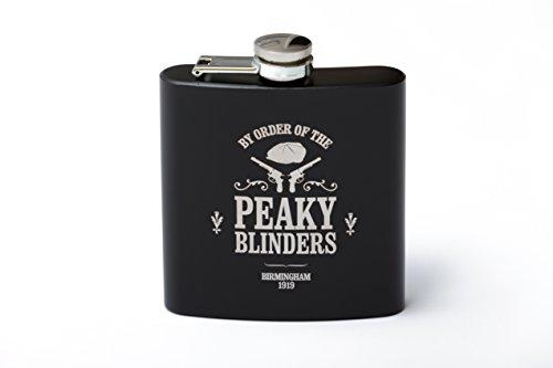 Peaky Blinders inspirado 6oz negro petaca regalo perfecto para despedidas, Favor de la boda, cumpleaños–incluye caja de regalo y embudo