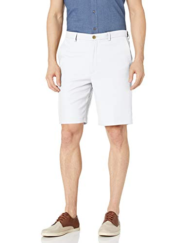 Haggar Men's Cool 18 Pro Straight Fit Stretch Solid Flat Front Short, White, 36