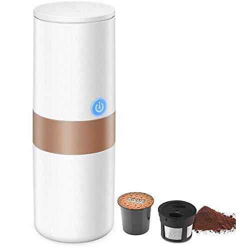 Tragbare Espressomaschine, 2-in-1-Kaffeemaschine für die meisten Einzelschalen, einschließlich K-Cup-Schalen, mit wiederverwendbarem K-Cup-Filter, wiederaufladbarem Akku, perfekt für Camping und Reise