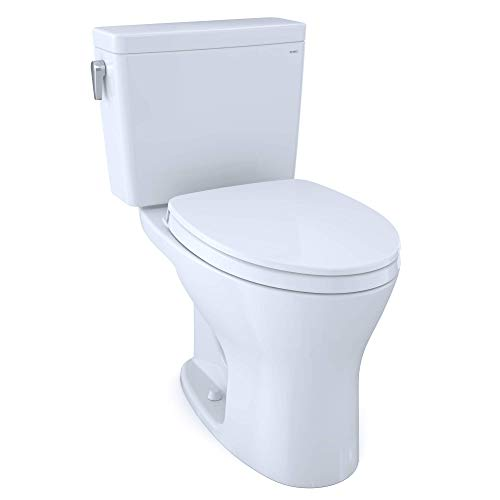 TOTO MS746124CSMG#01 Drake Two-Piece Elongated Dual Flush 1.6 and 0.8 GPF DYNAMAX TORNADO FLUSH Toilet with CEFIONTECT and SoftClose Seat, WASHLET+ Ready, Cotton White