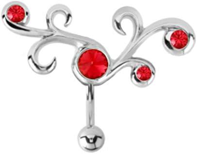 Red Tribal Swirl filigree vine Reverse Top Mount Belly button navel ring piercing bar body jewelry 14g