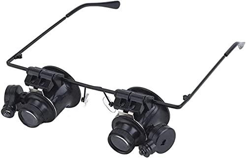 QUERT Jumelles 20X Type Loupe binoculaire à Double œil Outil de réparation de Montre Loupe avec Deux lumières LED réglables - Noir