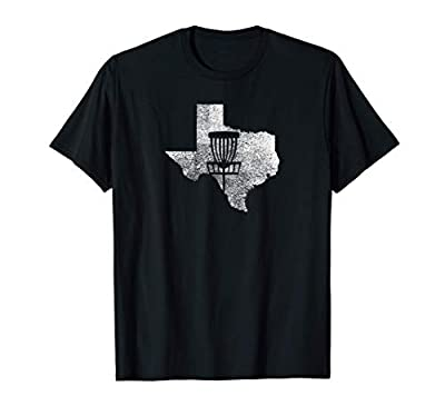 Texas Disc Golf State with Basket Distressed Graphic T-Shirt