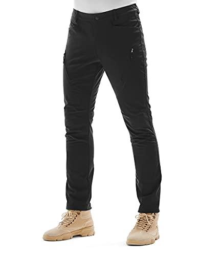 KUTOOK Pantalones Trekking Hombre Softshell Impermeables Invierno Esquiar y A Prueba de Viento Transpirables Cálidos Pantalones con Forro Polar para Montaña Escalada Running(Negro,L)