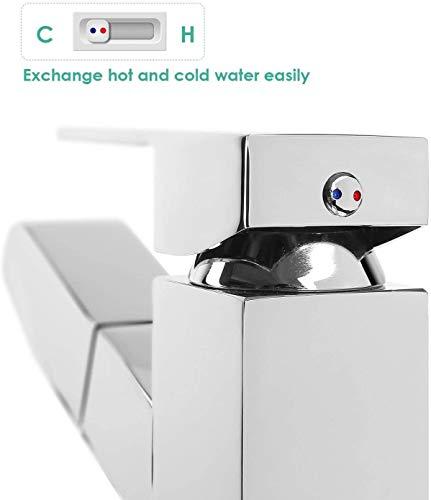 Homfa ausziehbare Waschtischarmatur. Küchenarmatur mit Einhandmischer, ausziehbarer Schlauchbrause und Keramik-Kartusche aus verchromtem Messing - 7