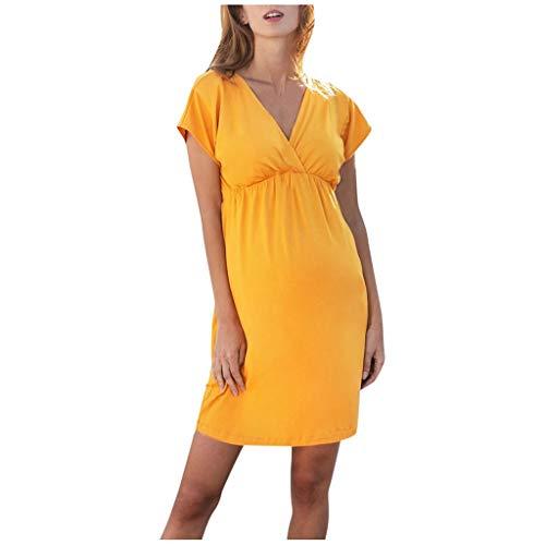 Vuncio Vestido de maternidad para mujer, de verano, manga corta, sexy, pijama de lactancia, pijama de algodón, con función de lactancia amarillo XL