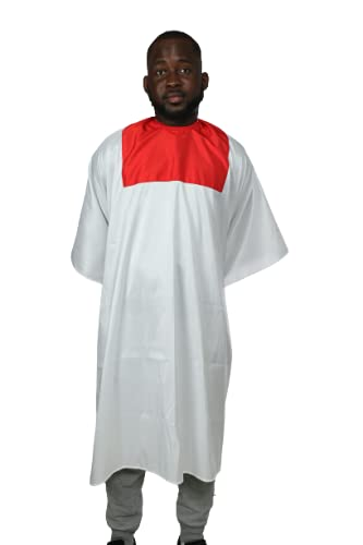 Barber Cape One size with Adjustable Snap Closure waterproof Hair Cape (White/Red)