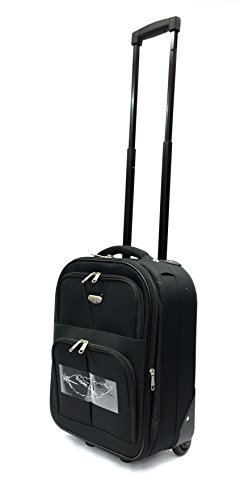 18' Super Lightweight Expandable Carry On Cabin Hand Luggage Suitcase, Approved for Ryanair, Easyjet, BA, TUI Suitcases with 2 Wheels (Black 630, Carry-on 18')
