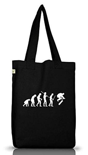Shirtstreet24, EVOLUTION SKATEBOARD, Skater Jutebeutel Stoff Tasche Earth Positive (ONE SIZE), Größe: onesize,Black