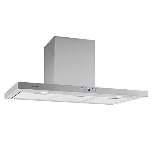 Klarstein Limelight - Campana extractora de pared, Extracción máxima de 600 m³/h, 3 niveles de potencia, Temporizador, 2 filtros de grasa apto lavavajillas, Iluminación LED, 90 cm, Plateado