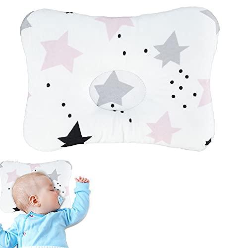 3D Almohada para Bebés Cuna Suave y Transpirable Espuma Viscoelástica para Recién Nacidos para Moldear la Cabeza de Bebés, Prevenir la Cabeza Plana Almohada de Apoyo (Estilo 1)