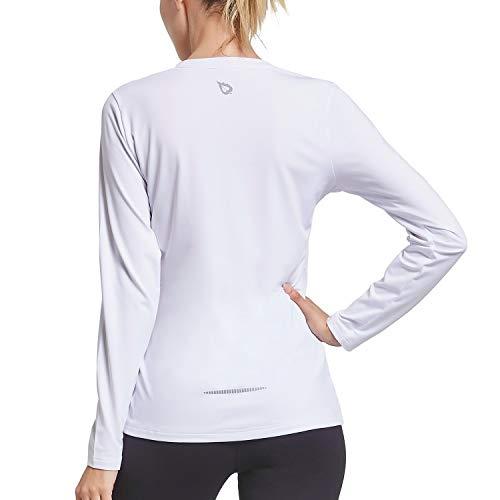 BALEAF Damen Langarm Shirts UV Shirt UPF Sportshirts Weiß XL