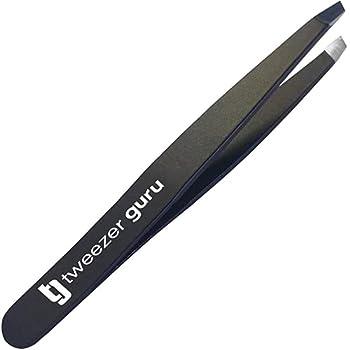 Tweezer Guru Slant Eyebrow Tweezers for Women & Men - Precision Tweezers for Eyebrows Facial Hair & Ingrown Hair Removal - Professional Stainless Steel  Black