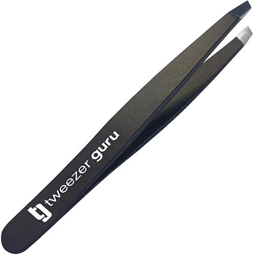 Tweezer Guru Tweezers for Eyebrows - Professional, Stainless Steel Precision Eyebrow Tweezers for Women & Men (Black)