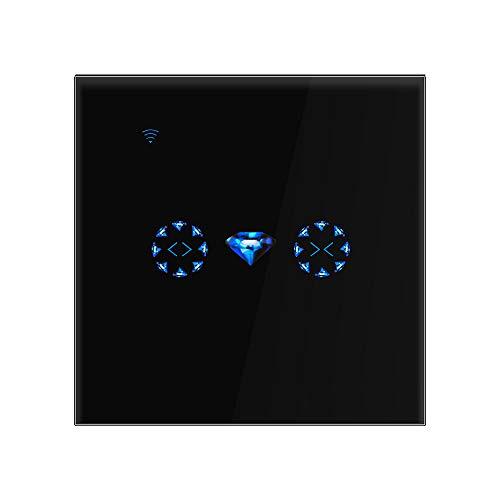 Rolladen Zeitschaltuhr SmartLife/Tuya, Wlan Schalter Rolladen Motor schalter Kompatibel von Amazon Alexa/Google Home, Timer/ 2,4 GHz WiFi Neutralleiter Benötigt, Wechselstrom AC 90V-250V, Schwarz
