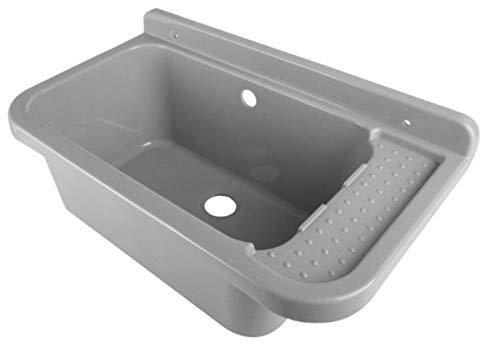 VBChome Ausgussbecken 50 x 35 x 21 cm Grau Spülbecken Waschtrog mit Überlauf Waschbecken für Gewerbe Waschraum Garten inkl. Ablaufgranitur