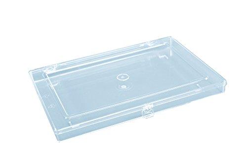 hünersdorff Sortimentskasten: stabile Sortierbox (PS-Classic-Flex, flach) ohne Fachaufteilung, glasklar, Sortierkasten-Maße: T225 x B335 x H32 mm, Made in Germany