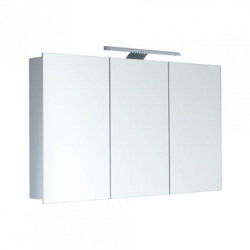 Galdem Spiegelschrank HIGH100 / 3D Badezimmerschrank 100cm / 3 türig/mit LED - Beleuchtung/TÜV geprüft/Steckdose/Badezimmer Spiegel auch als Flurspiegel geeignet/Spiegelschrank Korpus Aluminium