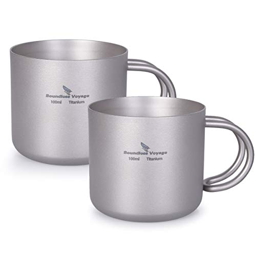 iBasingo 100 ml Titan Kaffee Tasse Doppelschicht Wasser Tee Tasse Set Im Freien Innen Wein Trink Becher Camping Picknick Tägliches Trinkgeschirr Heimgebrauch Ti1594BI