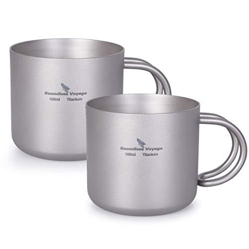 iBasingo 100 ml Titan Doppelschicht Wasser Tee Tasse Set Im Freien Innen Wein Kaffee Trink Becher Camping Picknick Tägliches Trinkgeschirr Heimgebrauch